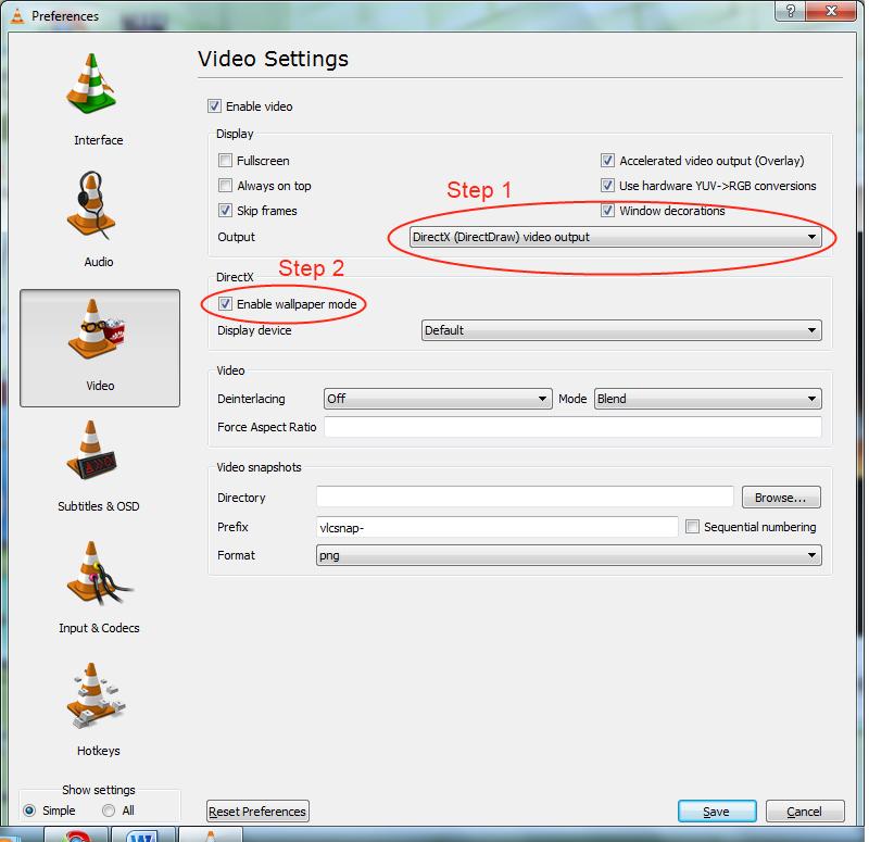 preferences in VLC